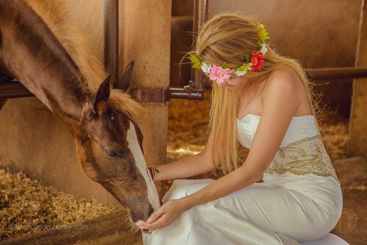 post boda isla de margarita novia alimentando caballo