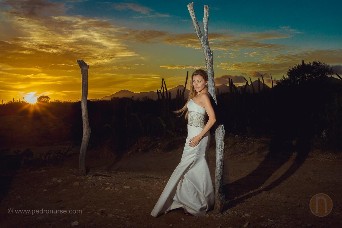 fotos de atardecer novia en post boda isla de margarita